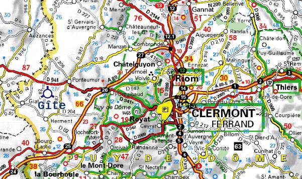 Carte Puy de Dôme pour Gite Chenerailles